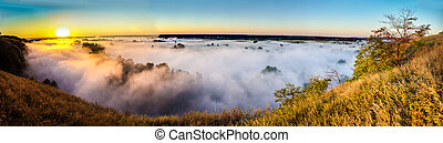 View misty dawn in the floodplain of a river - View Misty...