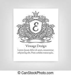 Vintage emblem, monogram