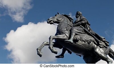 Bronze Horseman in the clouds time - Equestrian statue of...