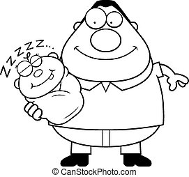 Cartoon Dad with Sleeping Baby - A cartoon illustration of a...
