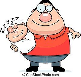 Cartoon Dad with Sleeping Baby