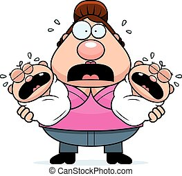 Scared Cartoon Mom with Twins - A cartoon illustration of a...