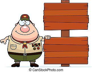 Cartoon Scoutmaster Sign
