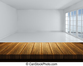 Wooden table with defocussed empty room image - 3D render of...