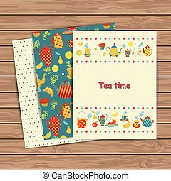 Tea time card set - Tea time cards on wood plank background....