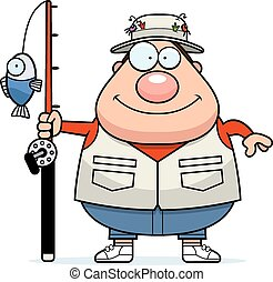 Happy Cartoon Fisherman - A cartoon illustration of a...