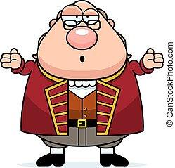 Confused Cartoon Ben Franklin - A cartoon illustration of...