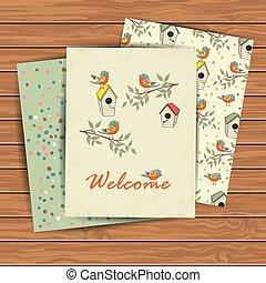 bird house - Decorative hand drawn card with bird house on...