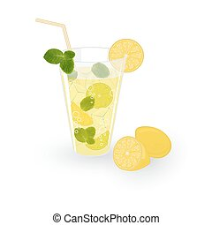 Lemonade isolated on white background, vector illustration