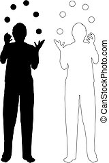 juggling men - silhouette and outline-illustration of...
