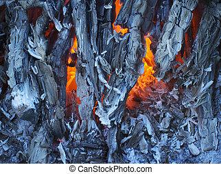 發光, 木炭,