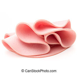 cooked boiled ham sausage or rolled bologna slices isolated...