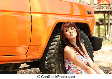woman with 4WD wehicle