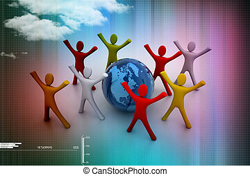 3d render of colored  people around globe