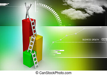 Success concept, 3d man on top of business growth graph