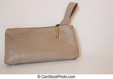 leather purse - stylish beige lady\'s handbag