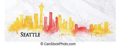Silhouette watercolor Seattle - Silhouette Seattle...