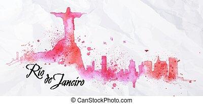 Silhouette watercolor Rio de Janeiro - Silhouette Rio de...