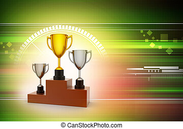 Three trophy isolated in color background