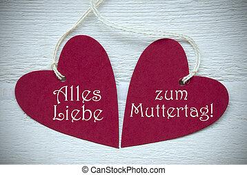 dos, rojo, Corazones, Alles, liebe, Zum, Muttertag, medios,...