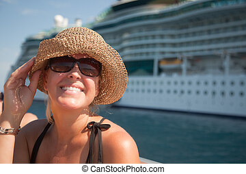 Beautiful Vacationing Woman with Cruise Ship - Beautiful...