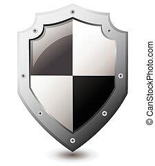 Vector illustration of black white shield