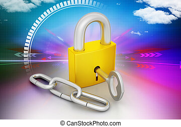 Key lock locked with a chain