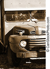 Classic abandoned truck - Old classic abandoned truck in...