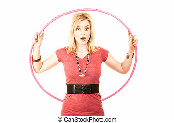 Pretty Blonde Woman with Plastic Hoop - Pretty young woman...