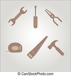 tools icon set cross with each other isolated on background