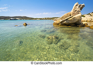 Blue sea in Sardinia - Clear water - Caprera island in...