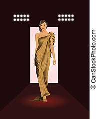 on the runway - fashion model on runway illustration