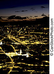 Quito- Ecuador - View of Old Town from El Panecillo- Quito,...