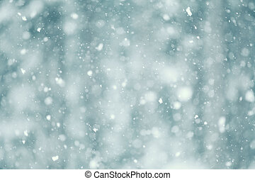 Falling Snow - Snow falling abstract with a shallow depth of...