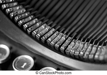 old typewriter - closeup of an old typewriting machine,...