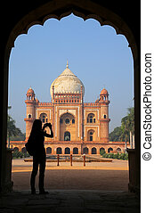 Tomb of Safdarjung seen from main gateway with silhouetted...