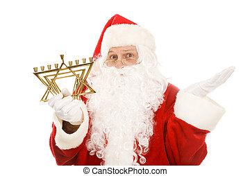 Santa Confused by Menorah - Santa Claus holding a Jewish...