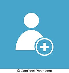 Add user white icon - Add user web white icon isolated on a...