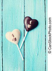 vendimia, corazón, forma, dulce
