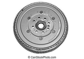 Flywheel car - New flywheel car isolated on white background