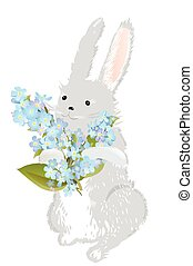 Bunny with forget-me-not flowers - Bunny holding...