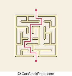simple square maze isolated on beige backgroundSimple Square Maze