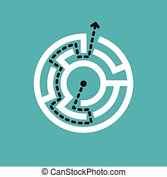 simple circular maze isolated on blue background