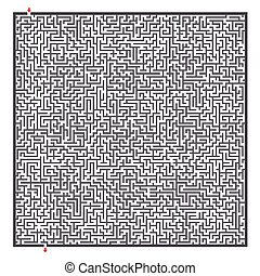 complex square maze isolated on white background