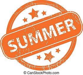 Summer grunge icon - Summer orange grunge rubber stamp on a...