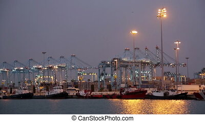Evening view of Port of Algeciras - one of largest ports in...