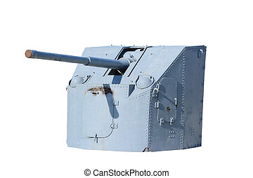 Naval Gun World War II Isolated on white, with clipping path...