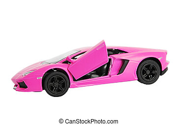 Pink car toy isolated on white background