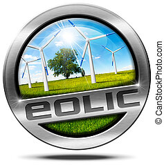 Eolic Energy - Metal Icon - Round metallic icon or symbol...