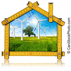 Ecologic House - Wind Energy Concept - Wooden yellow meter...